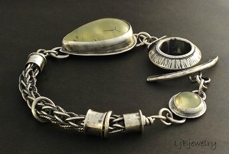 Sterling Silver Bracelet, Prehnite Bracelet, Gemstone Bracelet, OOAK - LjBjewelry