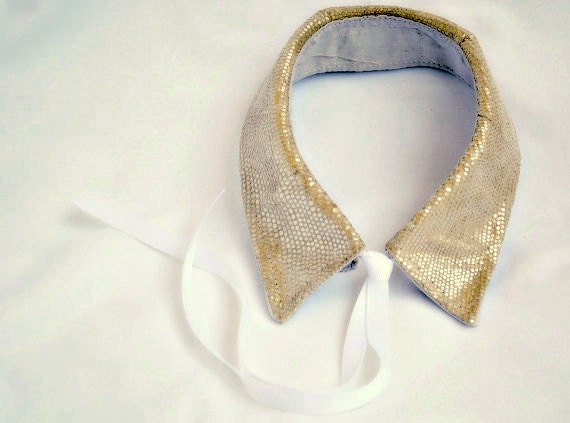 Leather Collar Detachable Necklace - Gold Snakeskin Print Leather Womens Clothing - FineThreadz