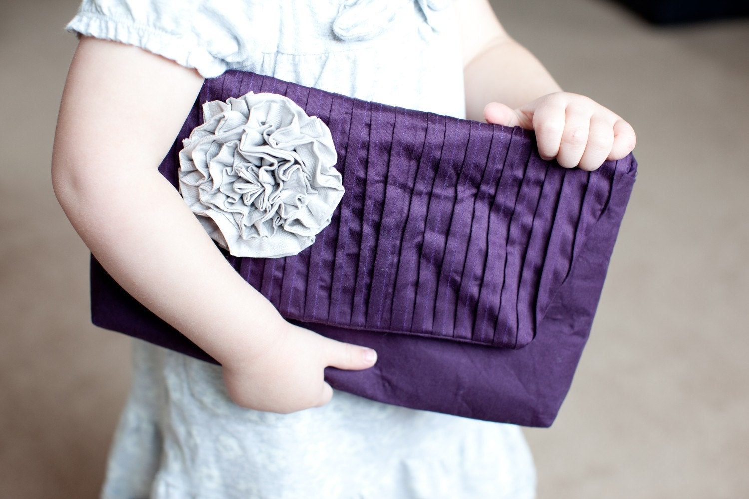 Pleated Ruffle Rosette Clutch in Eggplant Cotton