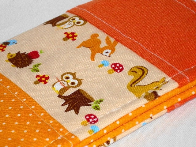 WB Travel --- Forest Cuties Passport Sleeve -- Orange Patchwork -- OOAK by WolfBait on Etsy from etsy.com