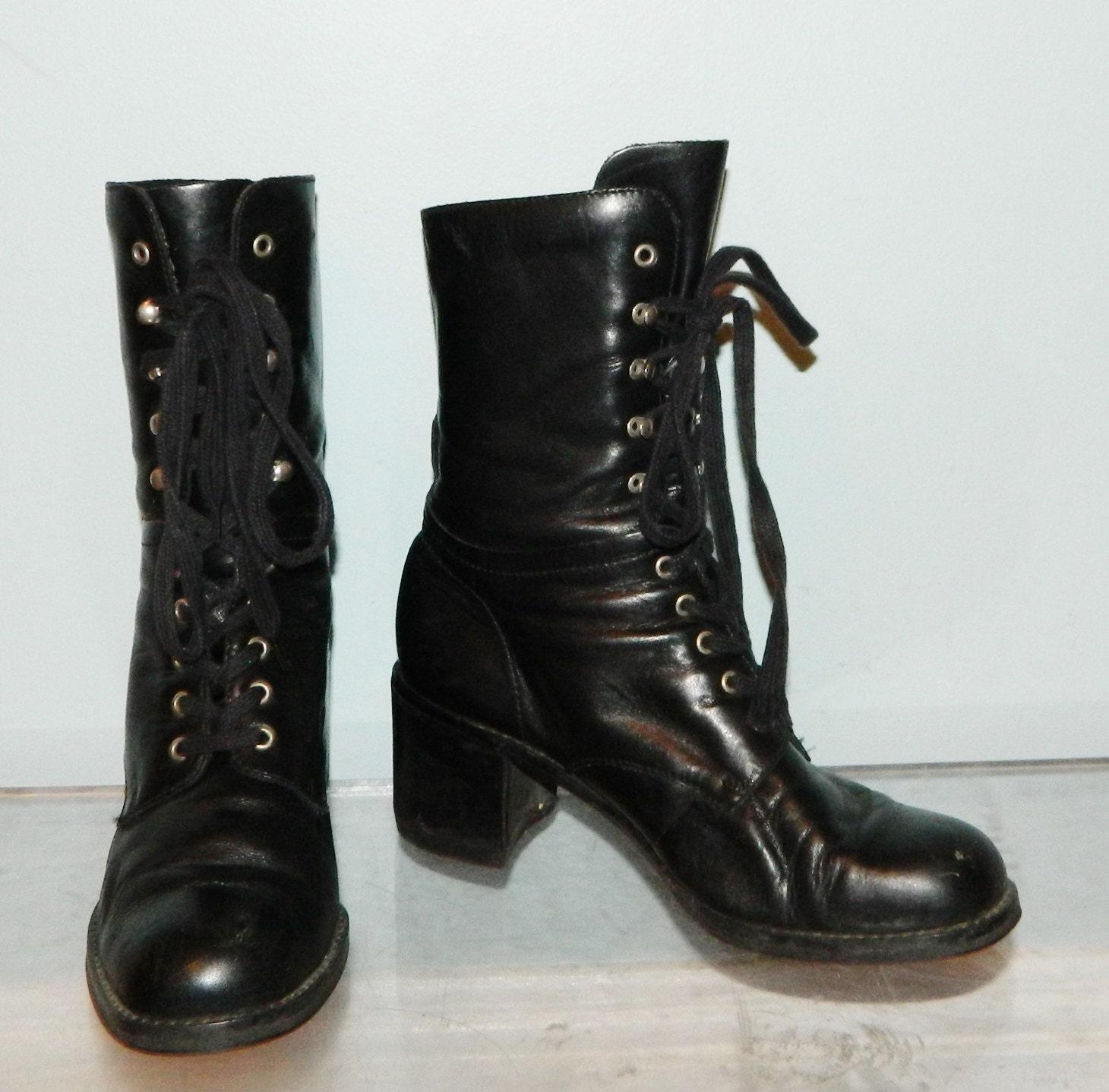 Brilliant Vintage 1980s Black Leather COMBAT Boots Mens 7 R Womens 8 1/2