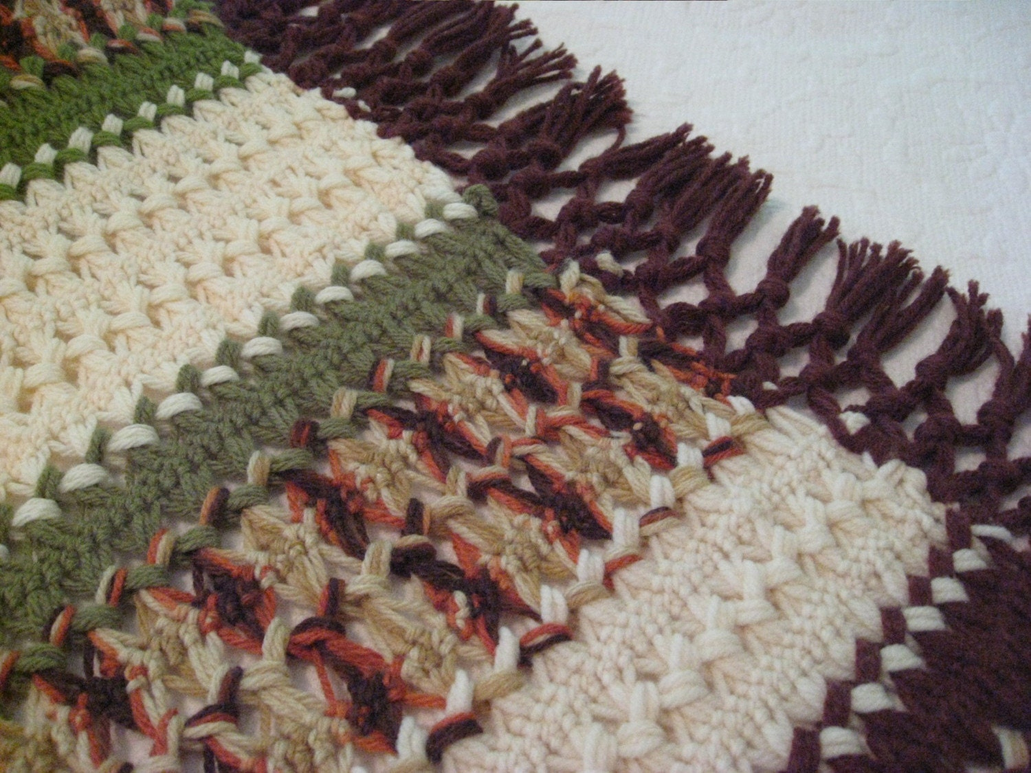 Unusual Afghan - Yellow Cream Browns and Green with Fringe - Vintage