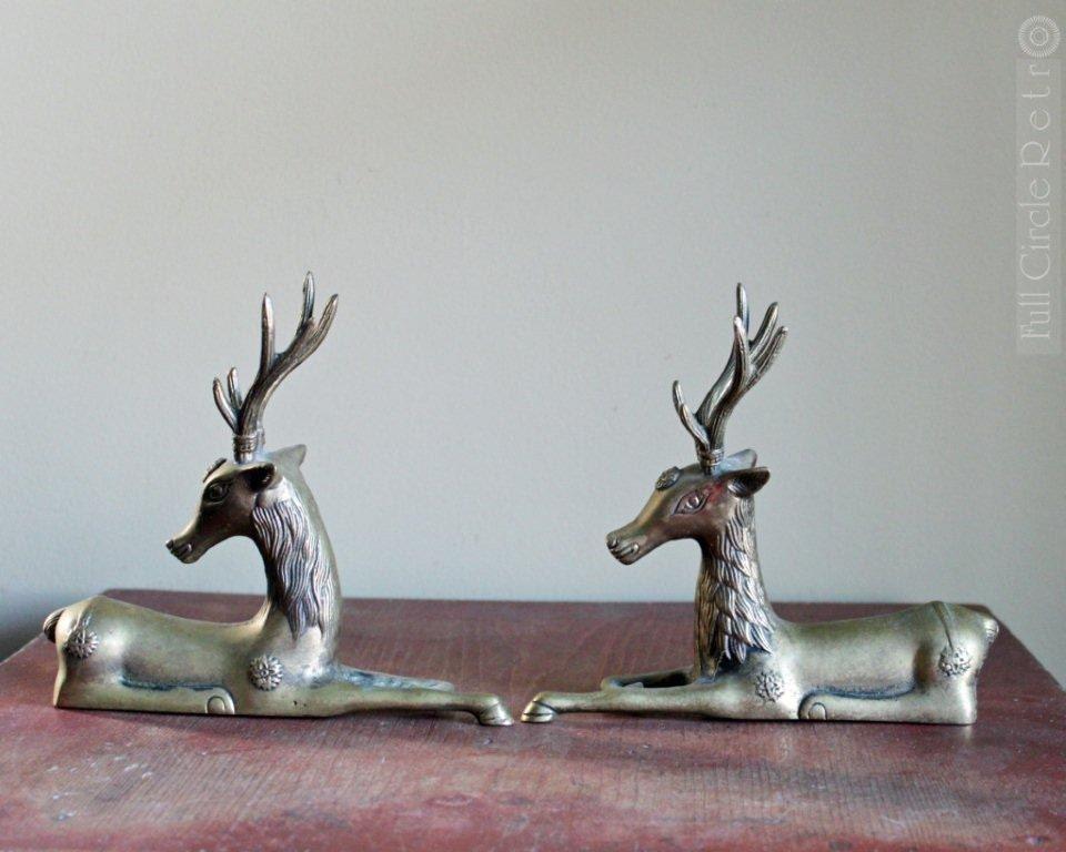 Antique Brass Couple of Reindeer