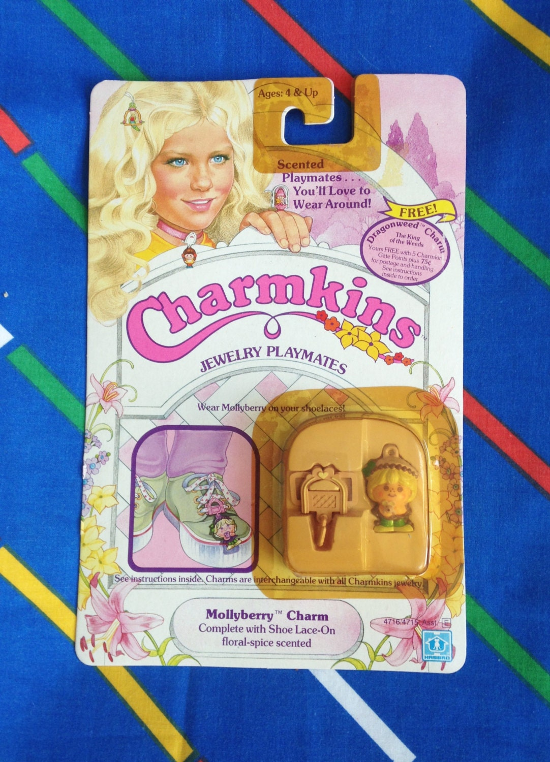 Vintage 1984 Charmkins MOLLYBERRY molly berry miniature doll 1980s Hasbro shoelace charm MOC MIB mint rare Factory Sealed spice scented new
