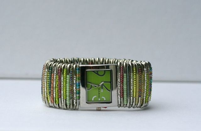 Green Beaded Safety Pin Watch