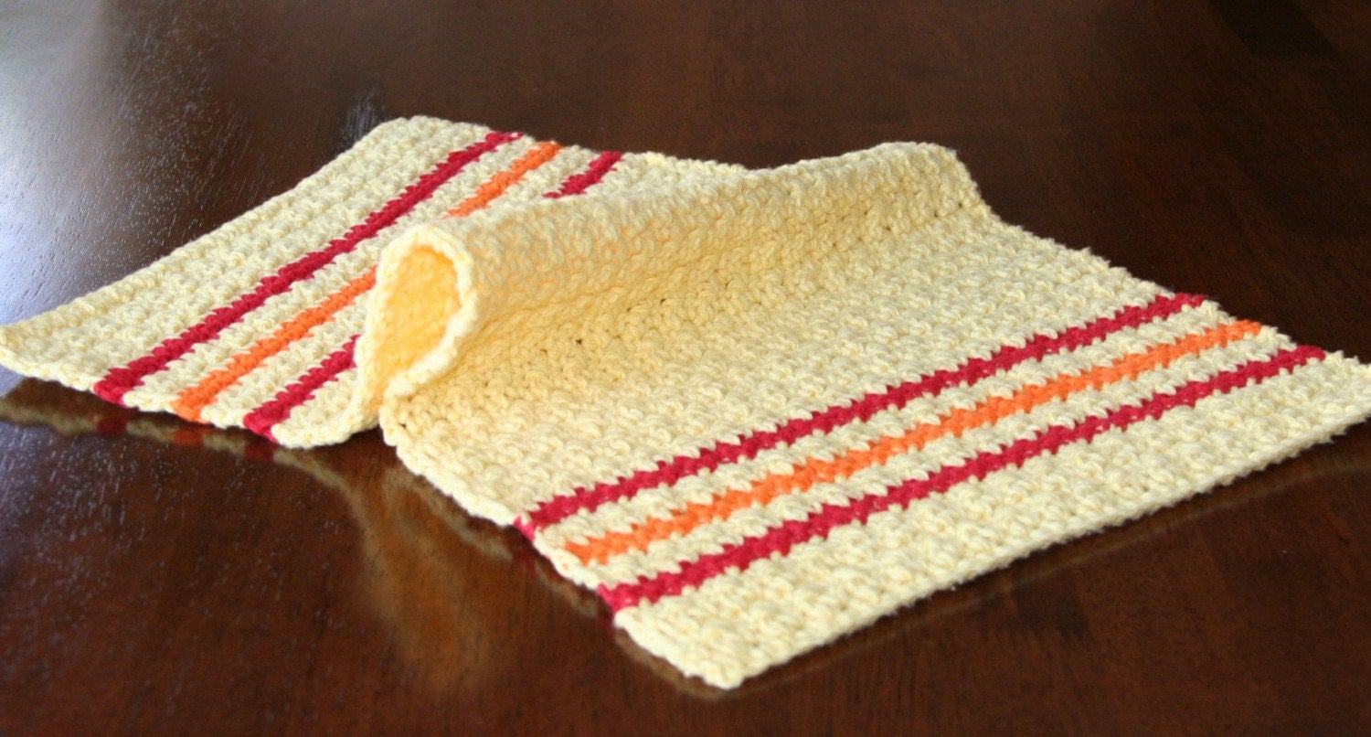 Crocheting Dish Towels : Crochet Kitchen Towel in Fall Colors - Completely Handmade by ...