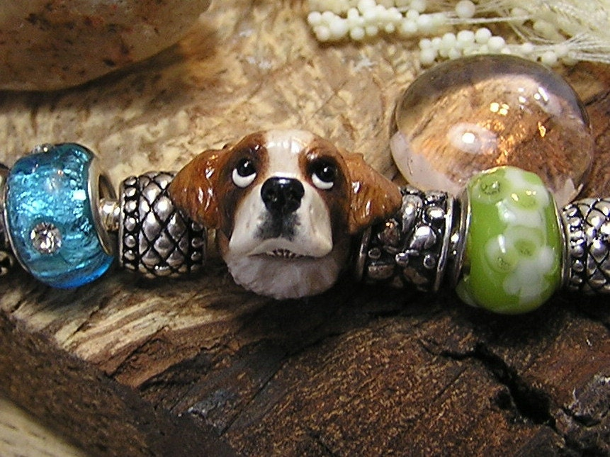 Saint Bernard Pandora Polymer Clay Dog Bead - Charm
