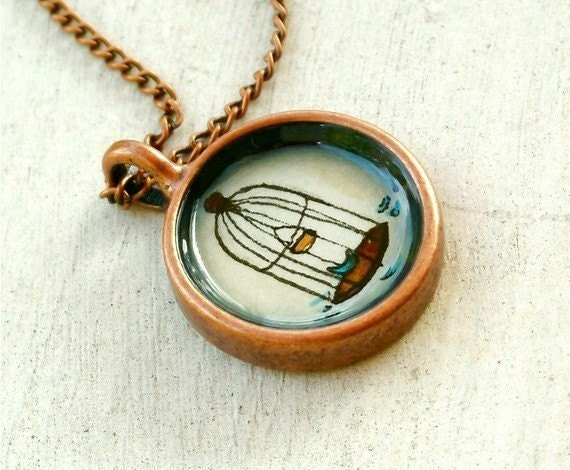 hand painted necklace, original watercolor pendant, copper, The Birdcage