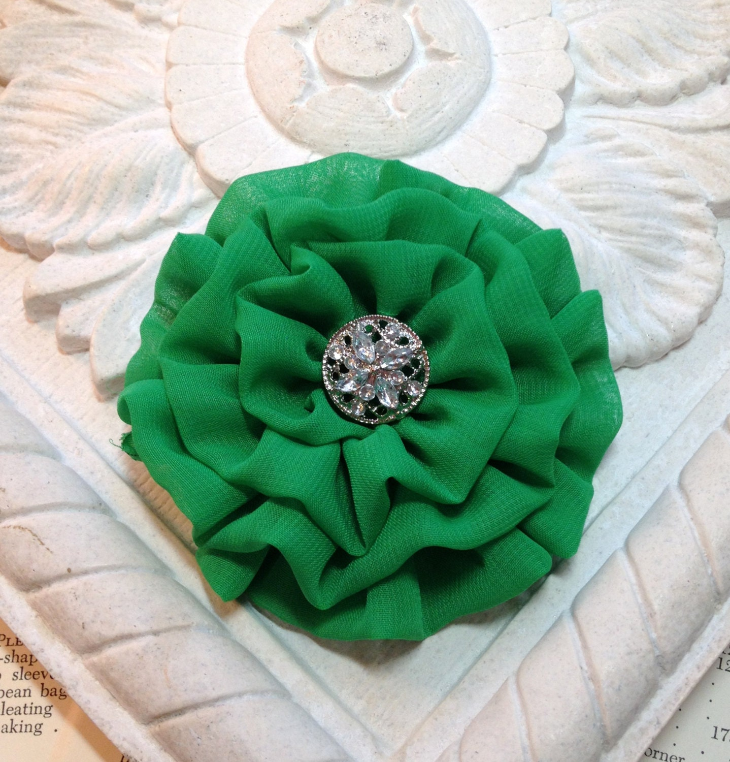 Kelly Green Chiffon Flower Hair Clip. Brooch and Hair Clip Combination. Bridesmaid. Wedding. Christmas Green - fabulousfinds