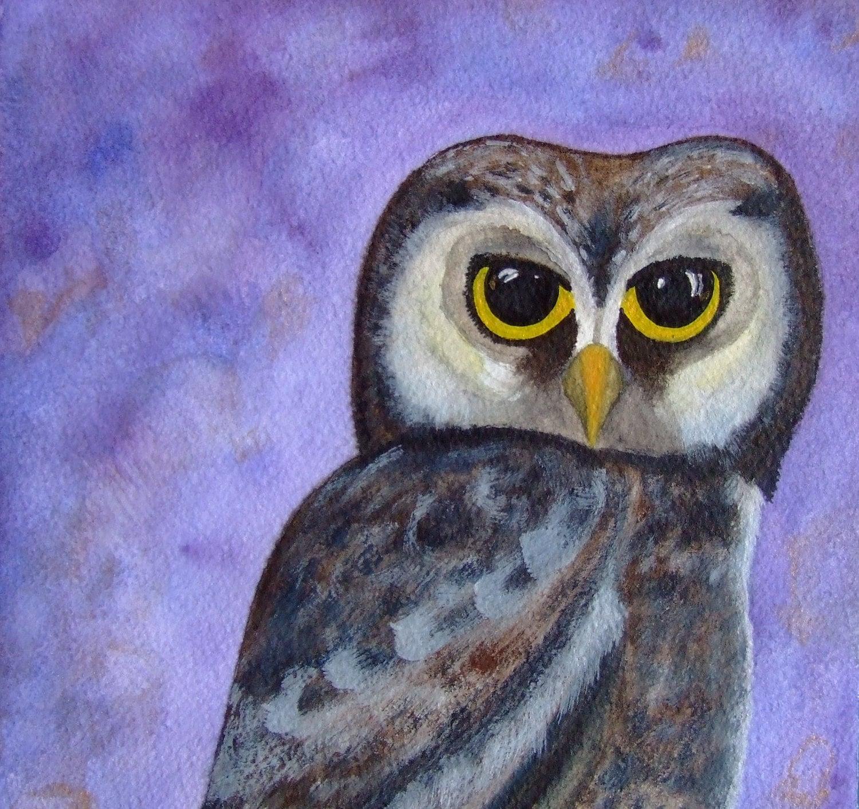 Owl Original Painting Watercolor Ink Bird Art Drawing Owlet Nature Animal Grey Purple Blue Decor Wall Art Contemporary Art Bird Owl - CelineArtGalerie