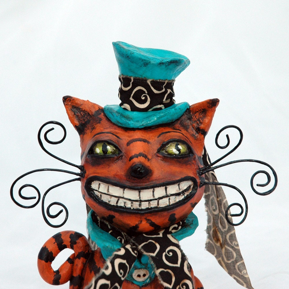 Cheshire Cat Mad Hatter Style Paperclay Sculpture Orange Black Aqua Whimsical Folk Art