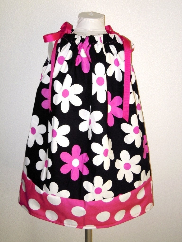 Pretty Daisies Pillowcase Dress in Pink sizes 0-6 months, 6-12 months, 12-24 months, 2T, 3T, 4T, 5T, 6T