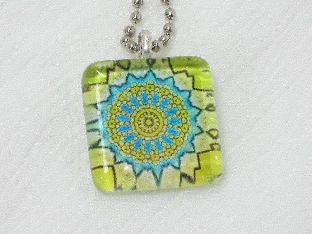 Glass Tile Pendant Necklace