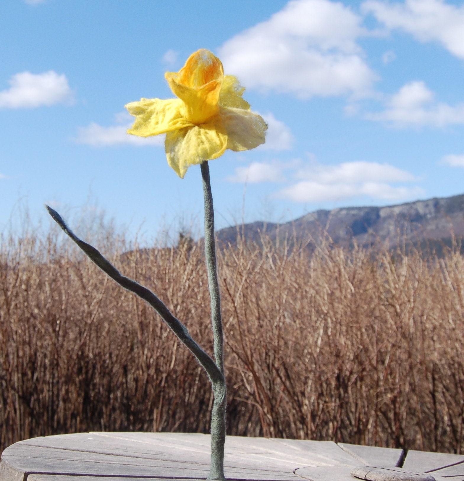 Daffodil felted flower