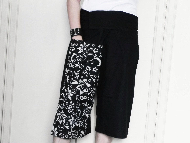 سیاه و سفید 3 / 4 تایلندی ماهیگیر شلوار پچ پا با چاپ CottonFrom SoftDesign