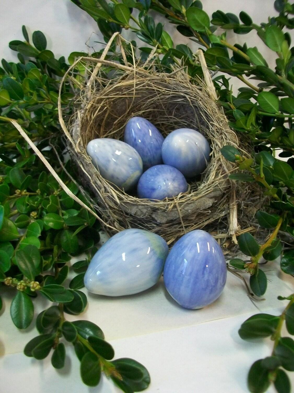 Easter Eggs - Handmade Porcelain Easter Eggs - Set of 6 Blue Speckled - SuzannesPotteryFarm