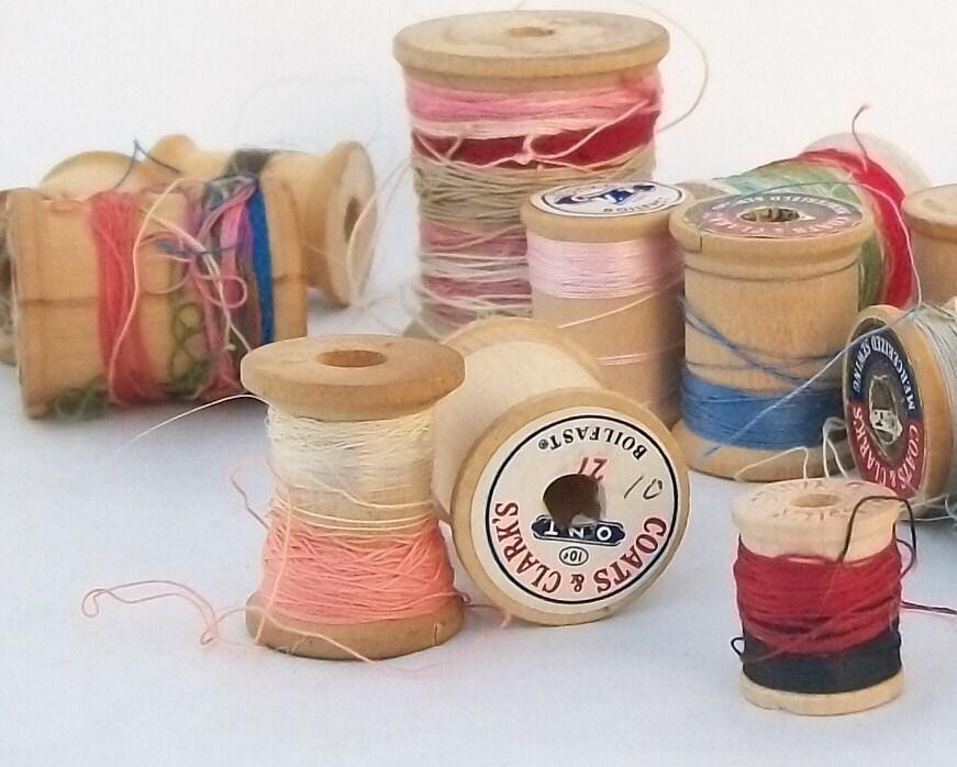 Vintage Thread on Wooden Spools - Lot of 17
