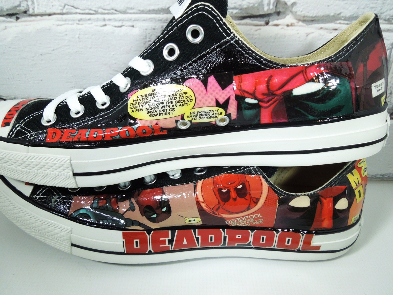 Men's Deadpool Comic Book Custom Sneakers. The Merc with a Mouth