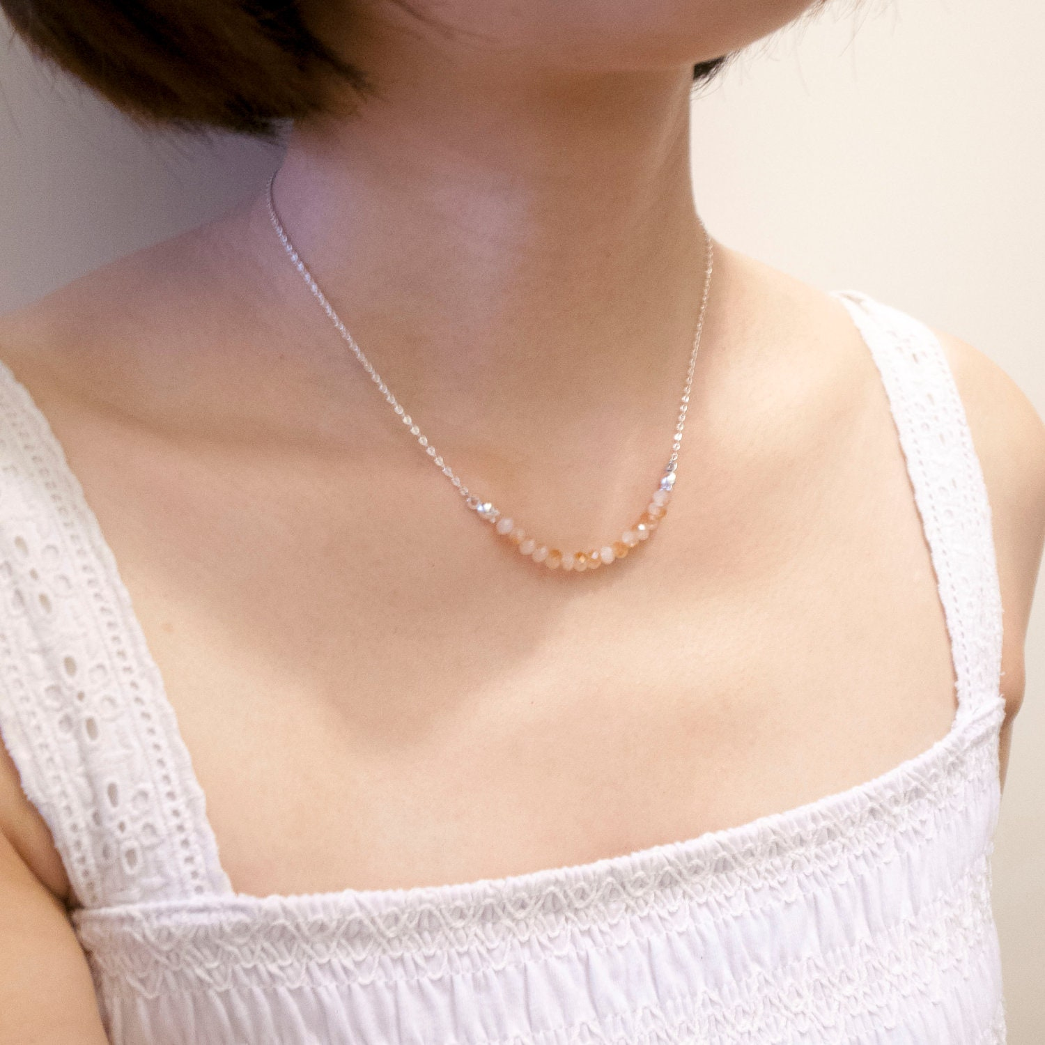 Simple Crystal Bridesmaid Necklace, coral necklace, turquoise, minimalist necklace, minimal jewelry, custom necklace