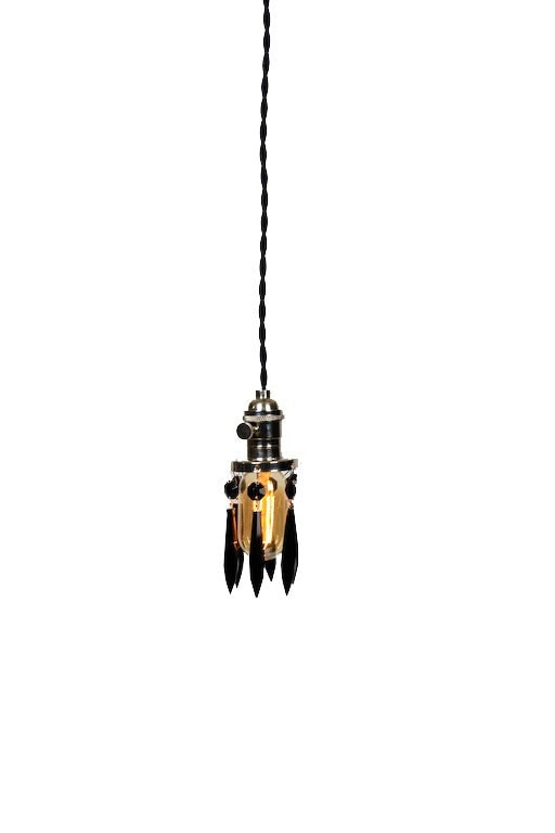 Simply Modern Bare Bulb Chrom Socket Mini Black Crystal Shade Shabby Chic Pendant Light - junkyardlighting