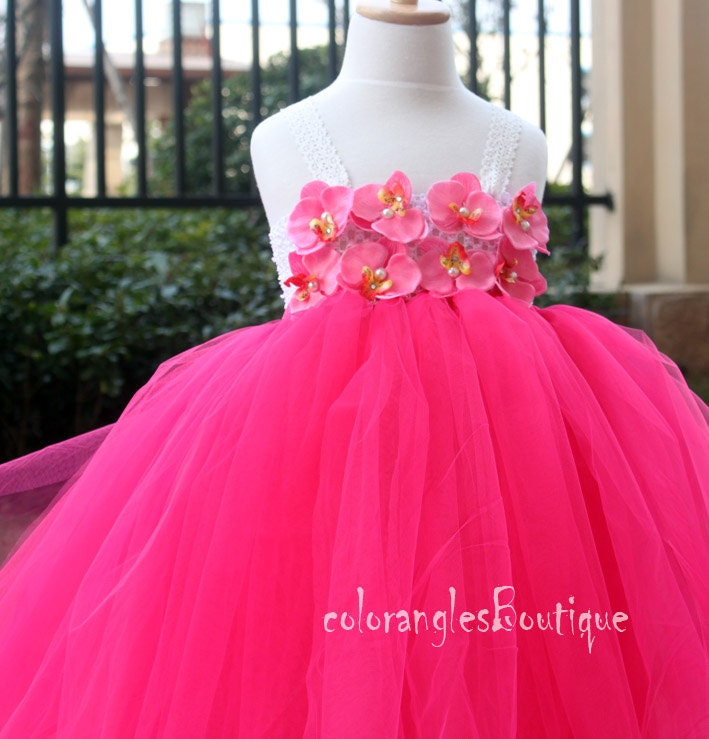 hot pink flower girl dress № 139493