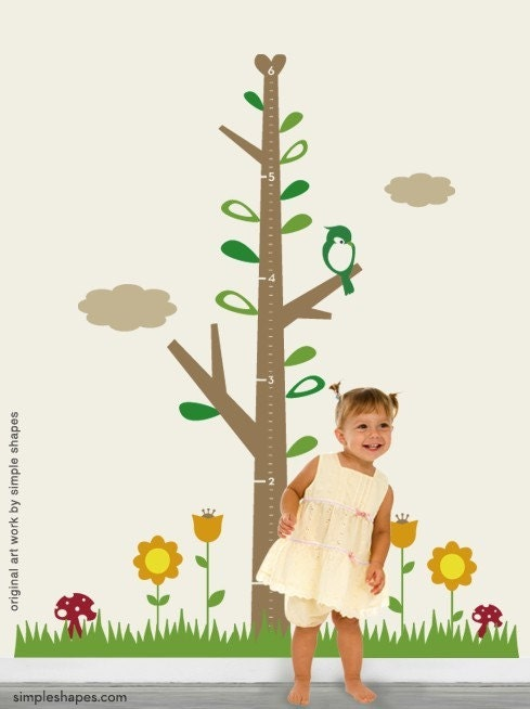 Kids Growth Chart Tree DELUXE with Flowers - Children's Vinyl Wall Sticker