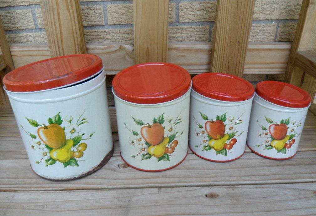 Vintage Fruit and Dogwood Metal Canister Set - LePinkChandelier