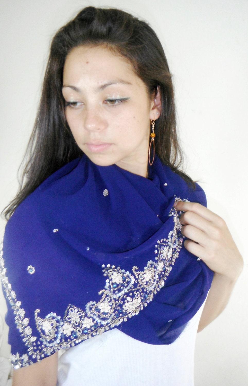 Blue Silk Scarf Summer Scarf Sari Scarf Wedding Wrap Sarong - MiriTextiles