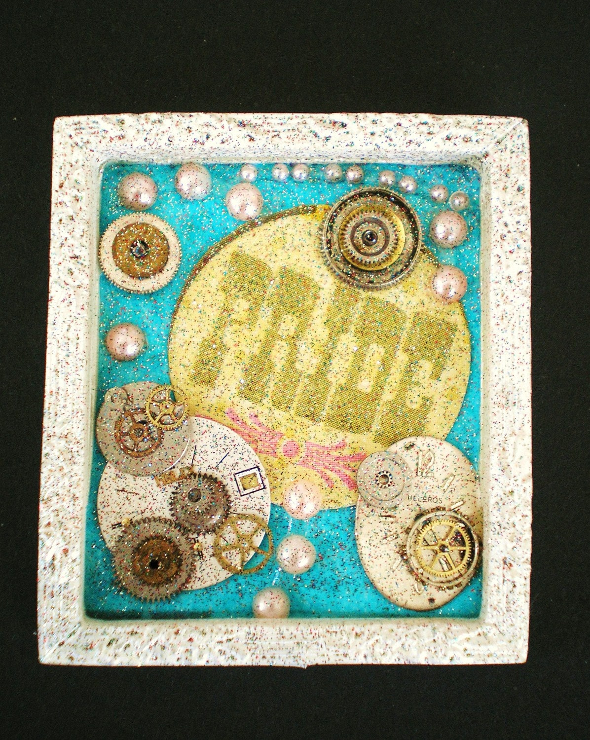 It's About Time..Pride  - Tiny Collage Mixed Media OOAK Framed Signed with Beads Paper Watch Parts