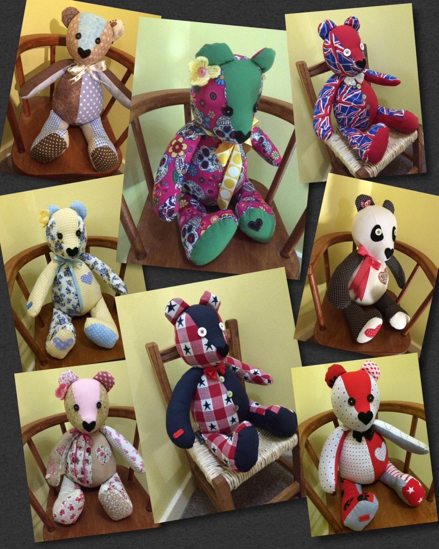 Stuffed Bear gift handmade Patchwork bear soft toy childs gift idea You Choose Colour Schem Gift idea home decor.