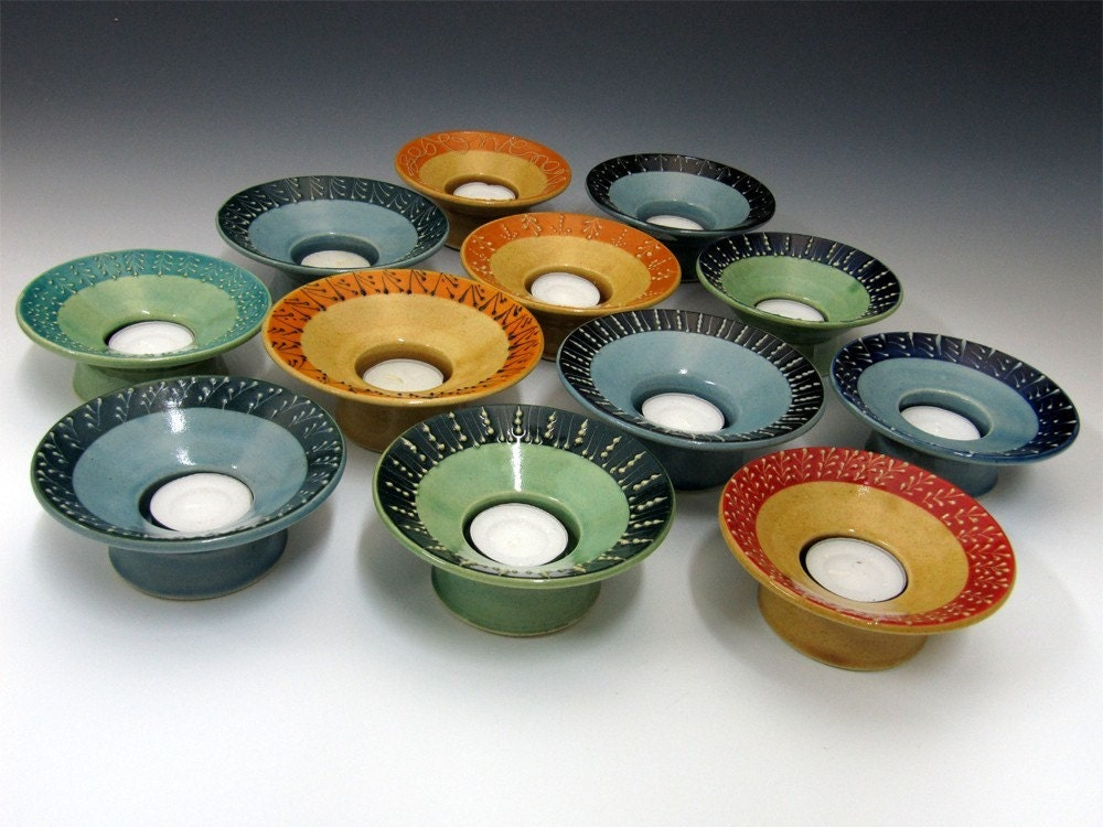 Tealight Candle Holder In Soft Green Blue by Charan Sachar
