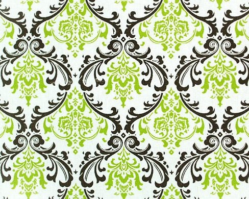 Wedding Chartreuse Green Brown and White Damask Table Runners FREE SHIP