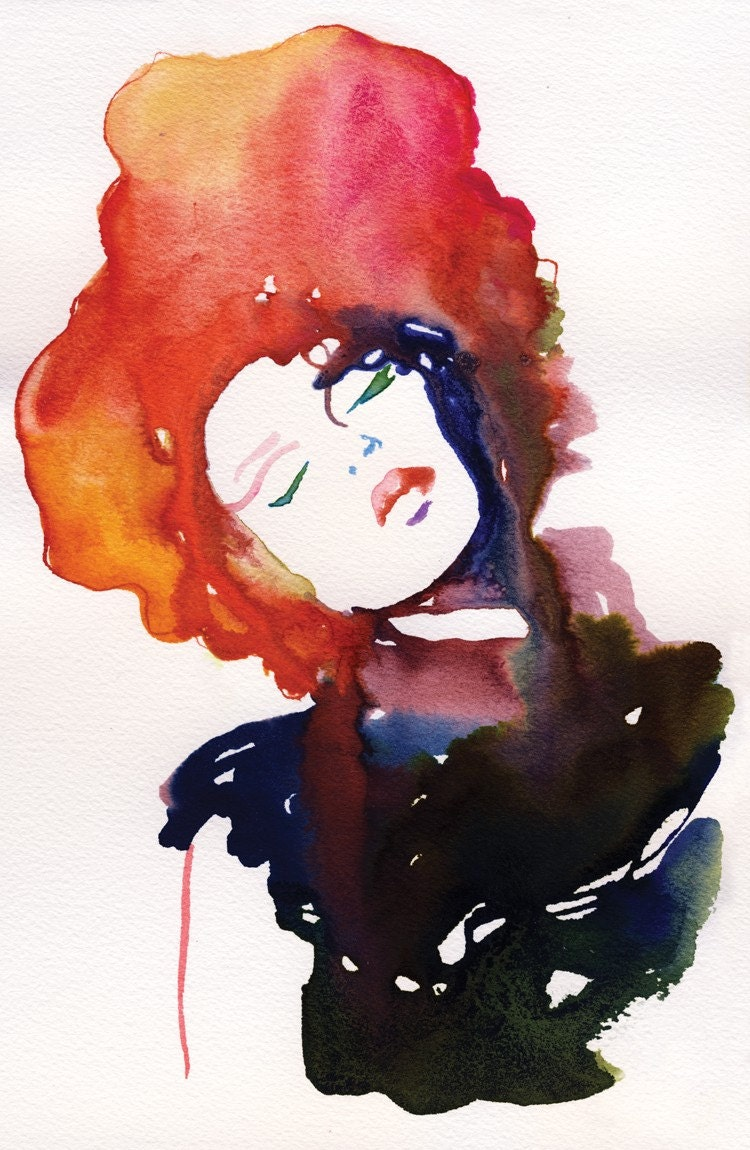 "Watercolour Fashion Illustration Print - Modelink2 13""x 19"""