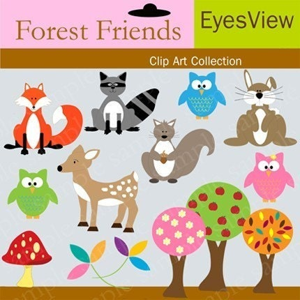 friend clip art. Forest Friends Clipart Digital