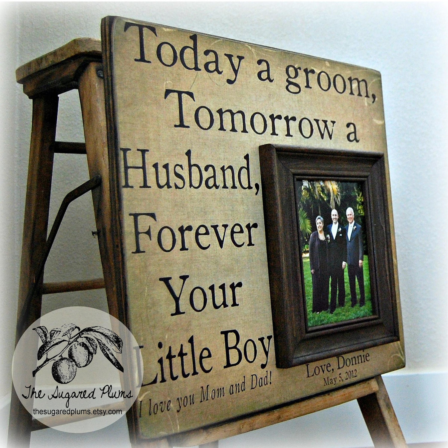 Wedding Gift For Groom Dad : Parents Wedding Gift Personalized Picture Frame 16x16 TODAY A GROOM ...
