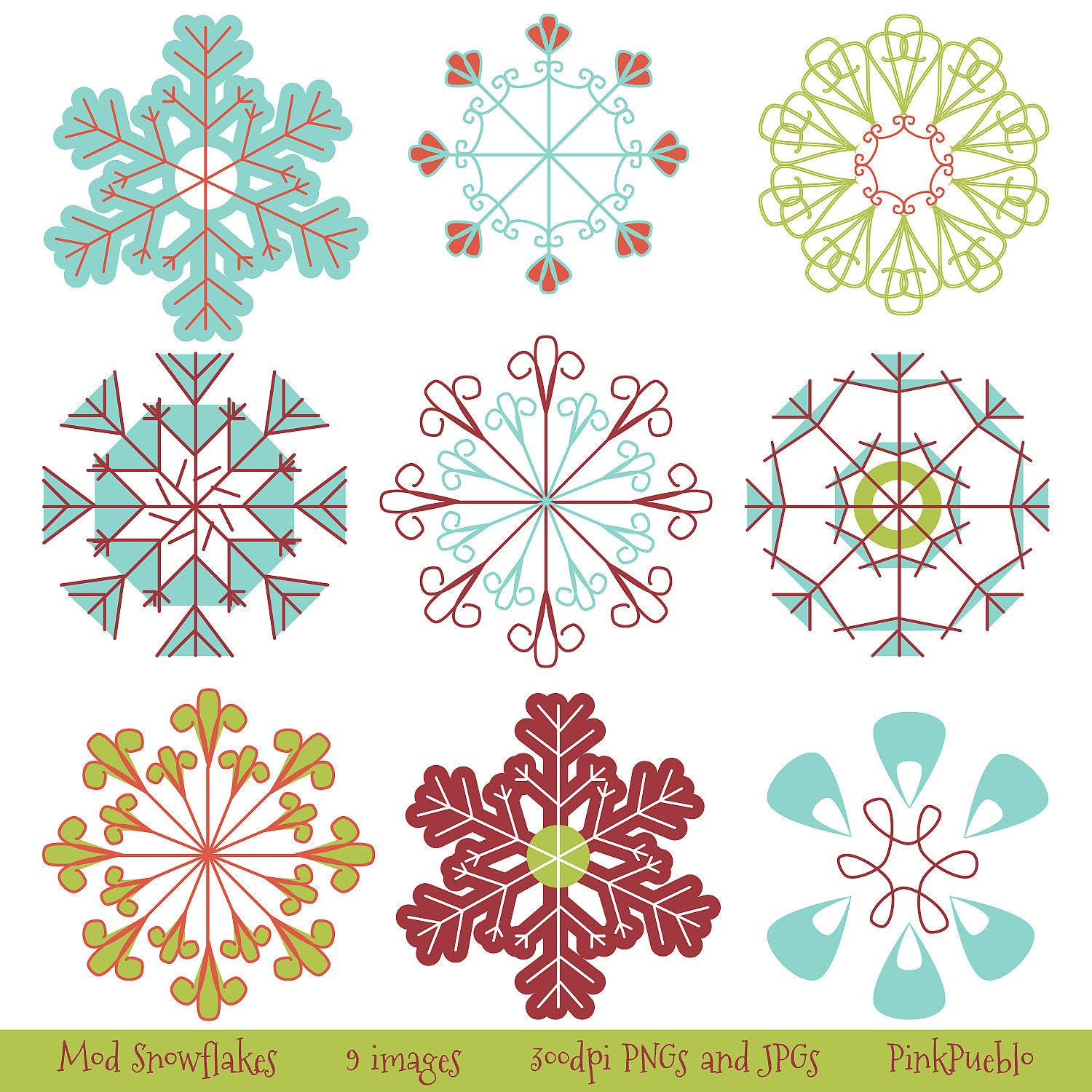 Snowflakes clip art snowflakes clipart commercial by pinkpueblo