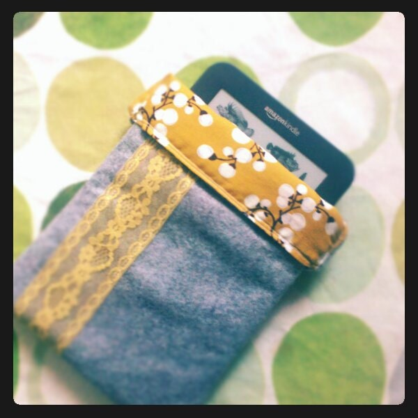 Grey Felt Kindle Sleeve with Yellow Lace Detail