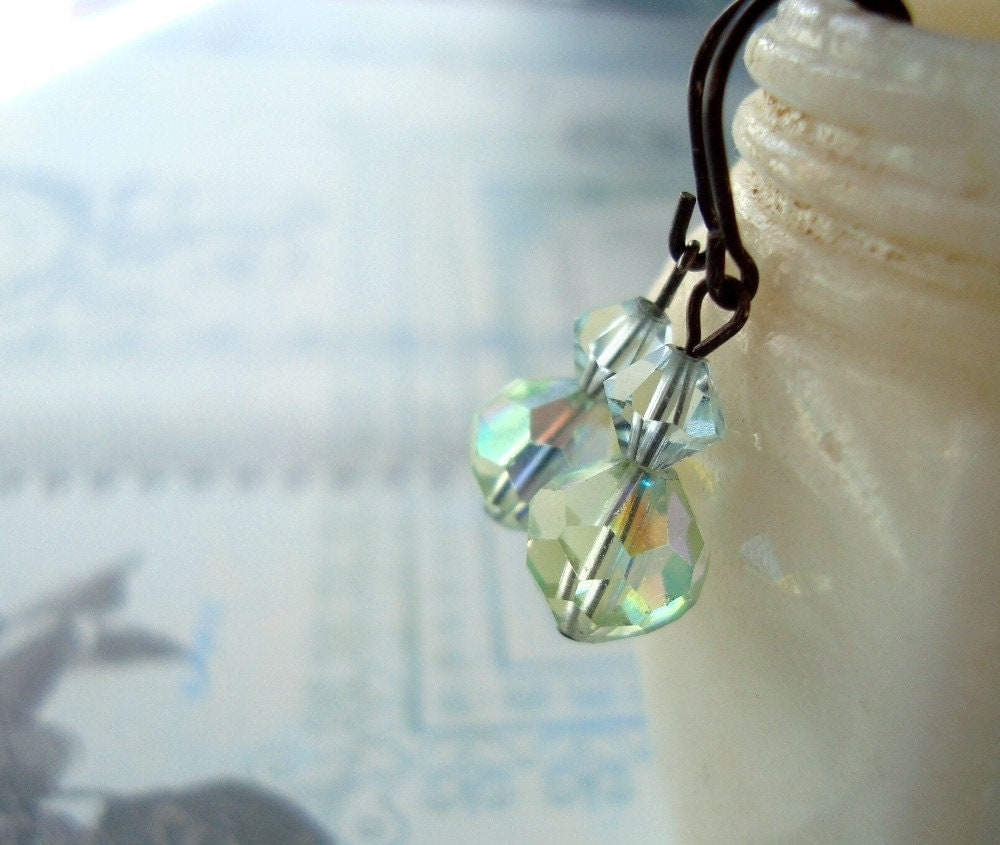 Aqua and Pale Green Crystal Earrings -  Subtle Sparkle