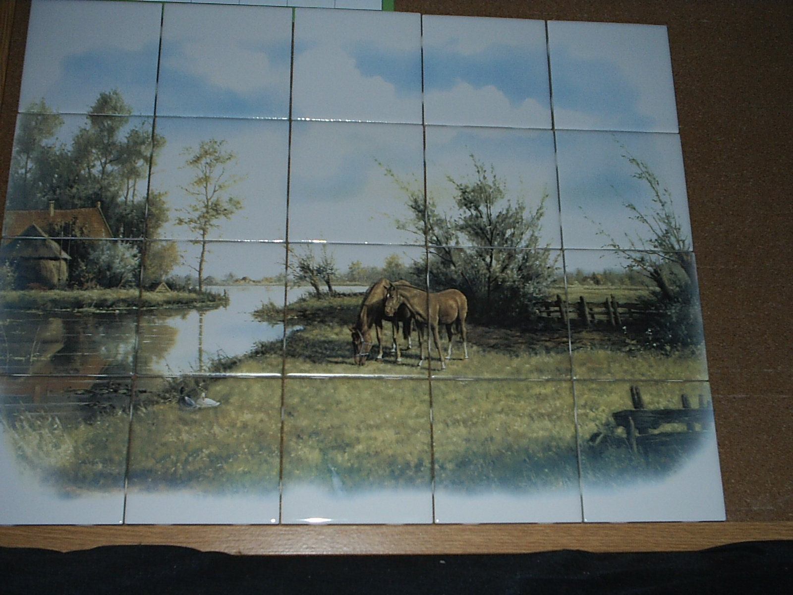 Country Horses Ceramic tile mural horse farm mosaic tiles