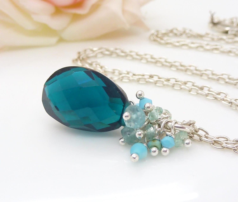 teal necklace gemstone cluster by creativityjewellery