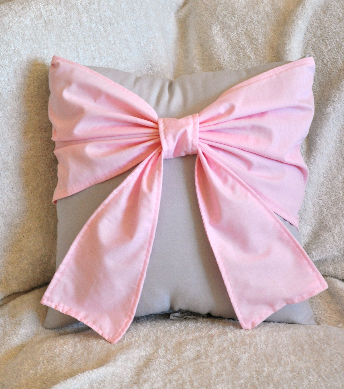 Light Pink Big Bow on Light Gray Pillow 14x14