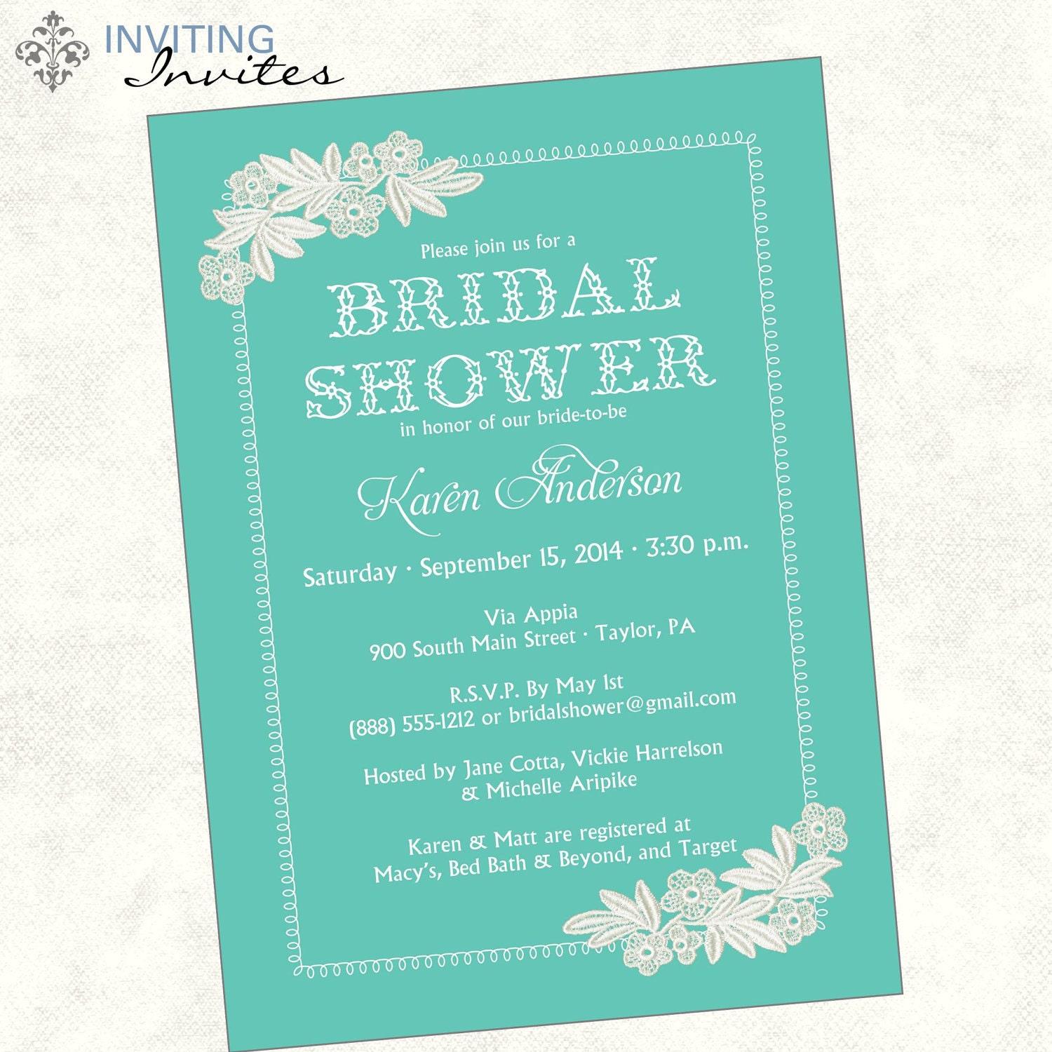 Sending Check Wedding Gift : Lace Bridal Shower Invitation Printable by InvitingInvites