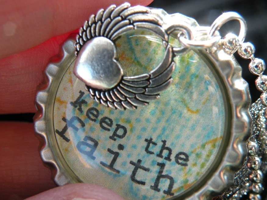 Keep The Faith Necklace - Recycled Bottlecap Pendant