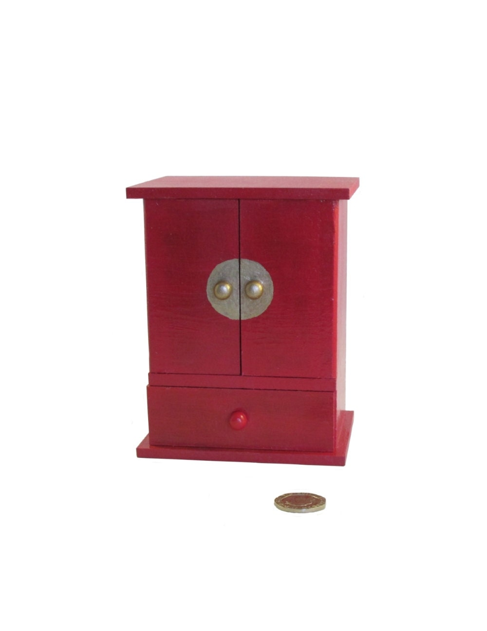 Chinese Mini Wardrobe Red Jewellery Box Gift for her Red Storage Box Decoupage Jewelry Box Chinese New Year Dolls House Furniture