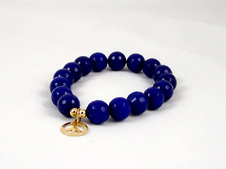 Agate Stretch Bracelet with 10k Gold Peace Charm, Yoga Inspired, Stretchy Bracelet, Free Shipping