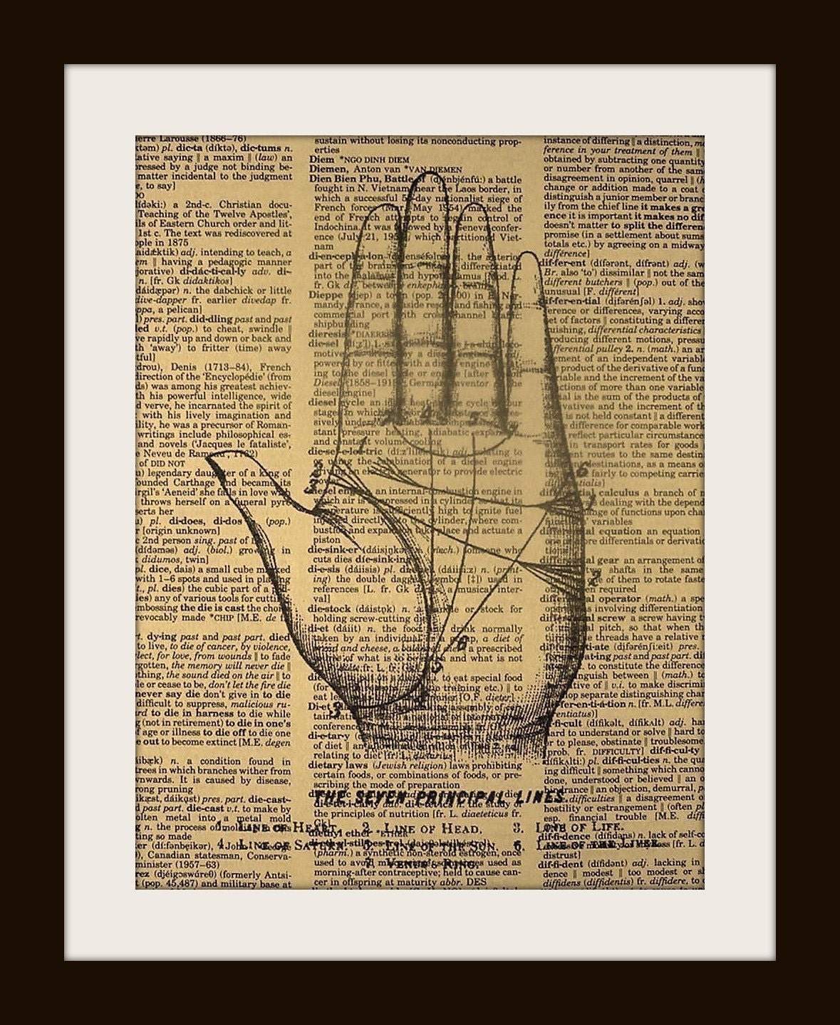 PALM READER Print on Vintage Dictionary Page FREE SHIPPING WORLDWIDE