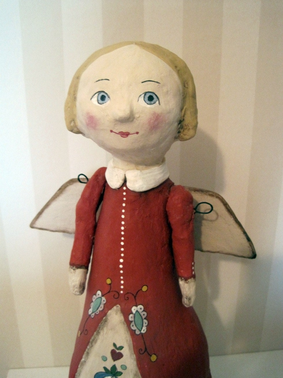 Guardian Angel- art doll- papier mache - OOAK doll- handmade art doll- red- folk art