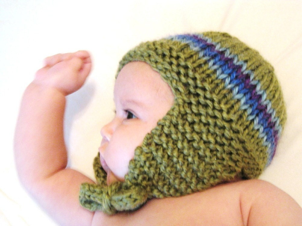 knit baby earflap hat, 3 to 9 months - fern