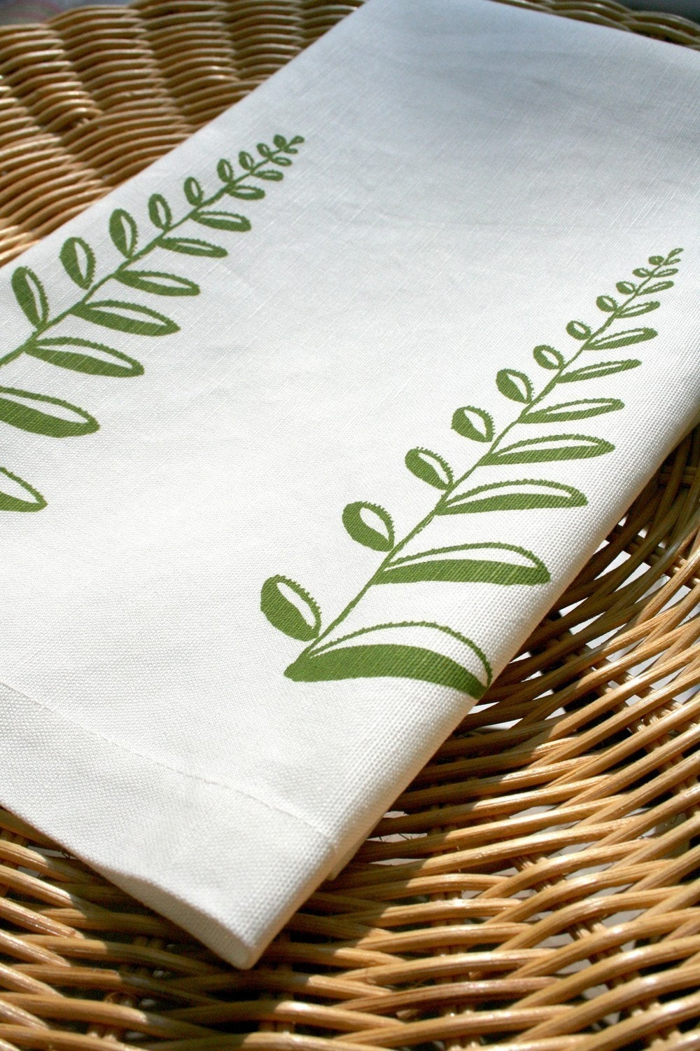 Pine Fern. Cream Linen Tea Towel.