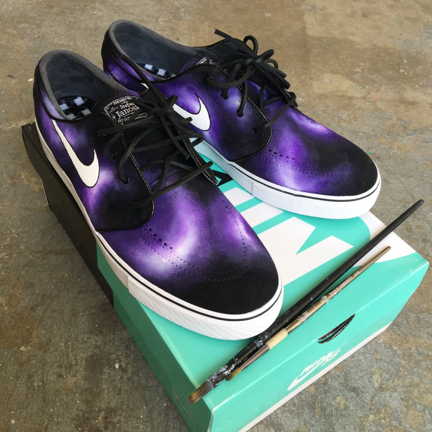 purchase cheap d0ae7 3d1d3 new Hand Painted Purple Smoke Nike Stefan Janoski by BStreetShoes